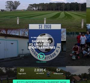 Screenshot einer Webseite mit Spendenaufruf für die Sanierung des Sportlerheims in Ihleburg