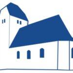 Blauer minimalistischer Umriss einer Kirche - Logo des Förderverein Kirche Schrenz und Umgebung