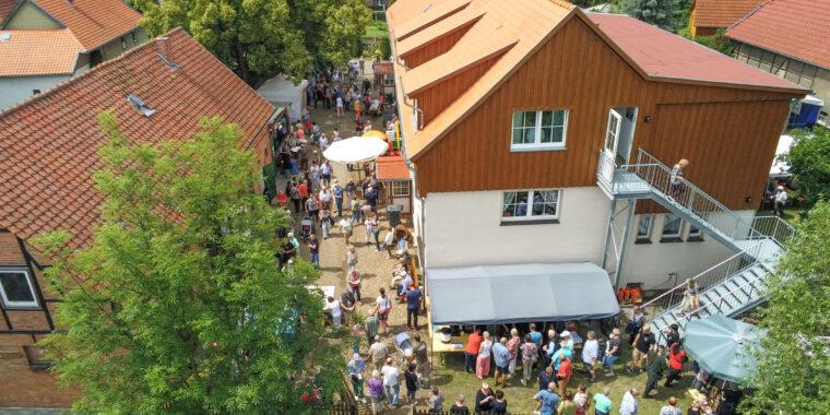 Luftansicht des Mühlenfestes am Museum