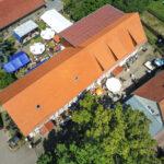 Luftaufnahme des Museumsgeländes mit Hof
